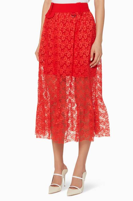 Red Floral-Lace Botanical Skirt