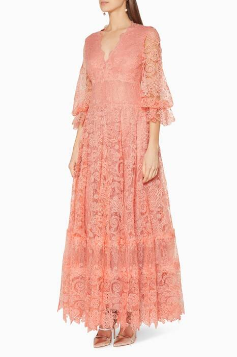 Peach Floral Lace Midi Dress