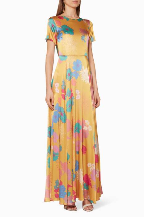 Yellow Floral-Print Nanna Maxi Dress