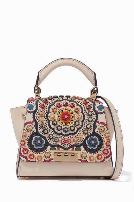 Cream Embellished Mini Eartha Top Handle Bag
