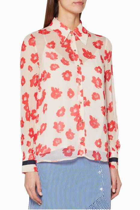 Red Floral-Print Mura Blouse