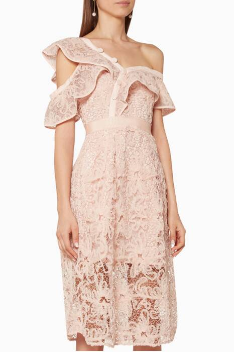 Pastel-Pink Floral Lace Frill Midi Dress
