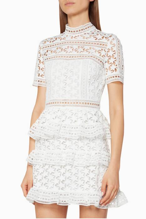 White Star Guipure Lace Mini Dress