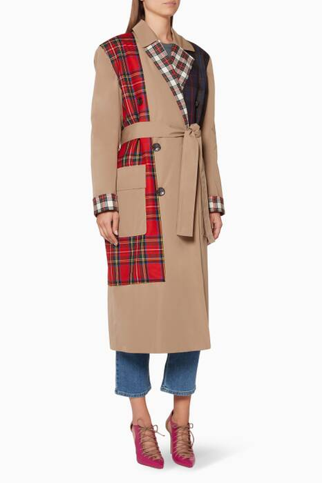 Multi-Coloured Plaid-Panel Trench Coat