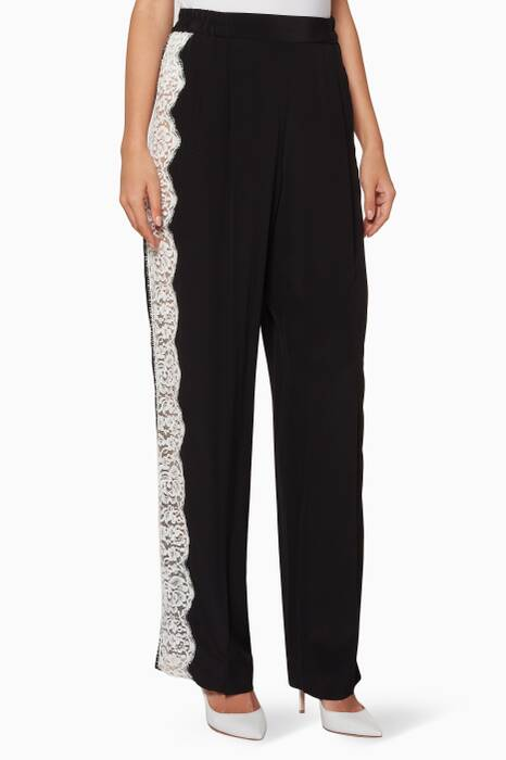Black Lace-Trimmed Straight-Leg Pants