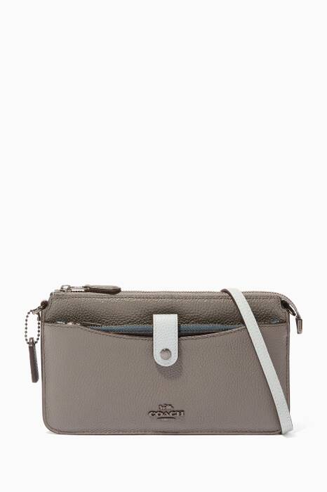Heather-Grey Colour-Block Pop-Up Messenger Shoulder Bag