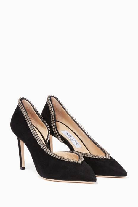 Black Lilian Suede Point-Toe Pumps