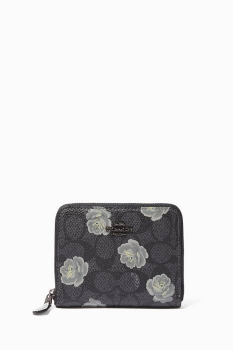 Sky-Blue Small Rose-Print Zip Around Wallet