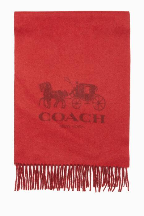 Red & Wine Horse & Carriage Cashmere Muffler