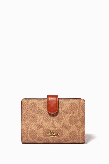 Tan & Rust Signature Medium Corner-Zip wallet