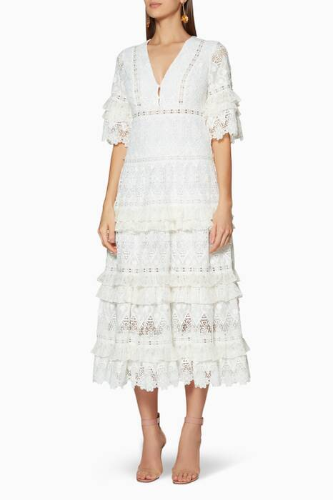 White lace Hazelle Midi Dress