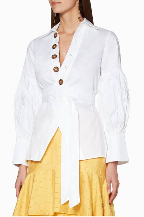 White Wrap-Around Cotton Shirt