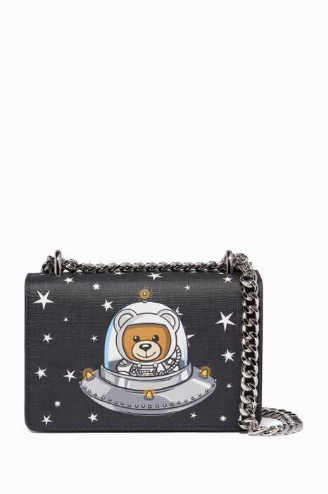 Black Teddy-Print UFO Leather Shoulder Bag