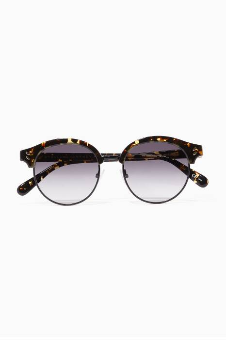 Brown-Tortoiseshell Round-Frame Sunglasses