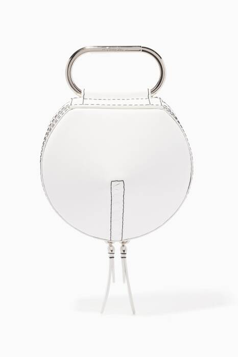 White Alix Circle Leather Clutch