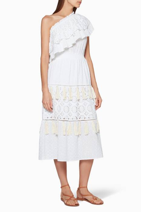 White Embroidered Clea Midi Dress