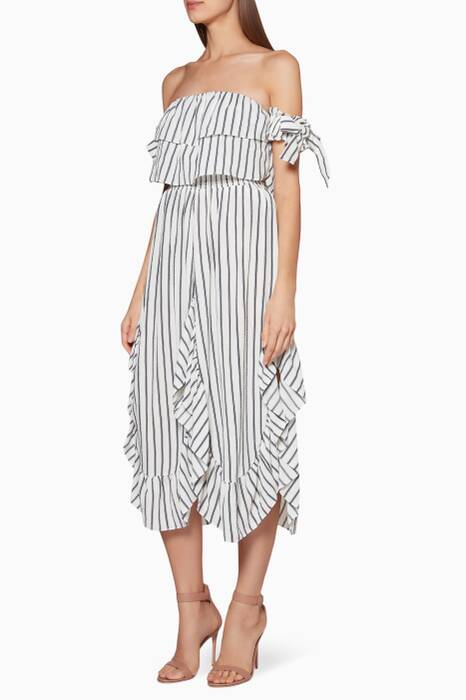 White & Navy Striped Elin Midi Dress