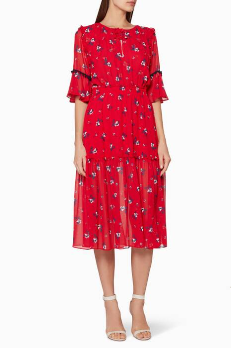Red Floral-Print Raquel Midi Dress