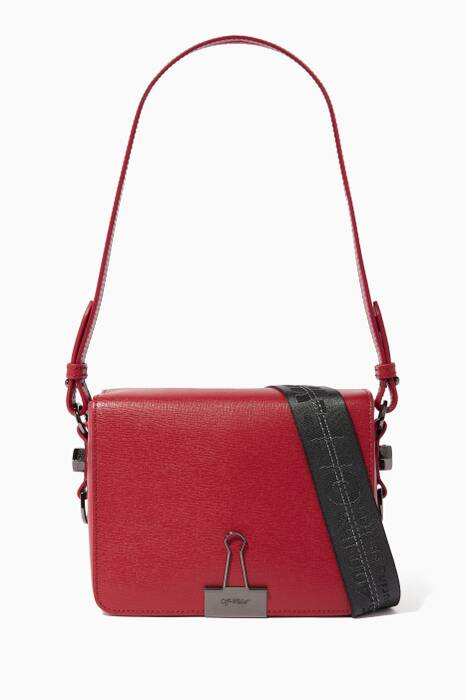 Red Clip Binder Flap Shoulder Bag