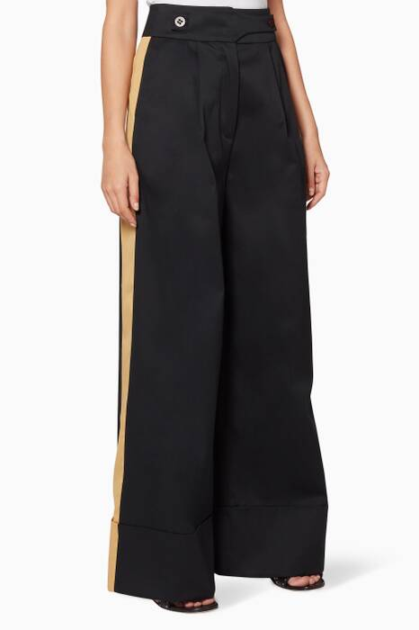 Black Buttoned Shadow Pants