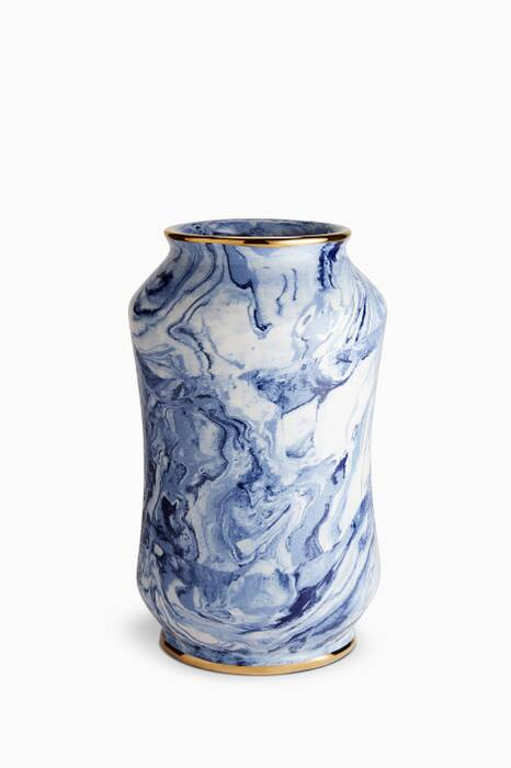 Blue Marbleized Curved Vase