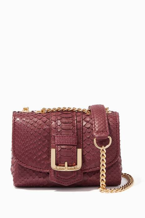 Dark-Red Python Poppy Cross-Body Bag