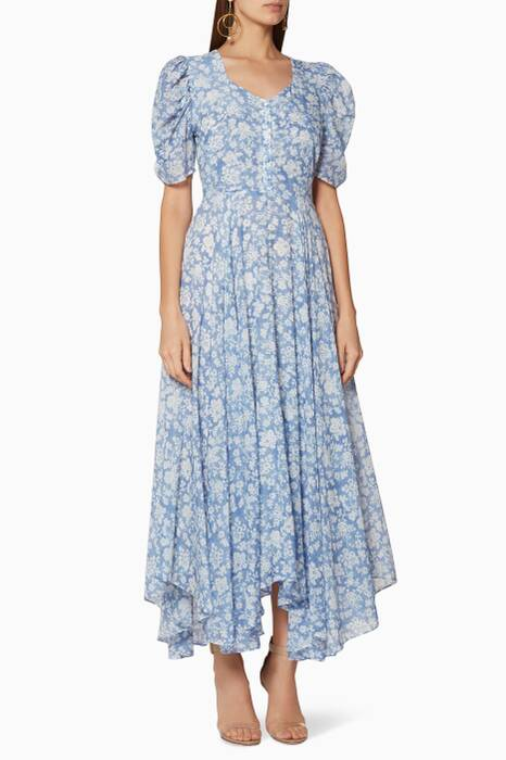 Light-Blue Floral-Print Coralie Dress