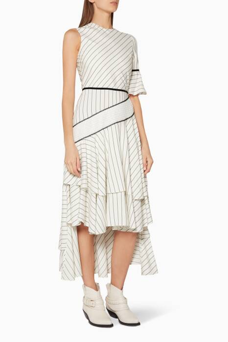 White Striped Asymmetric-Hem Dress