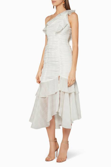 Ivory One-Shoulder Solace Midi Dress