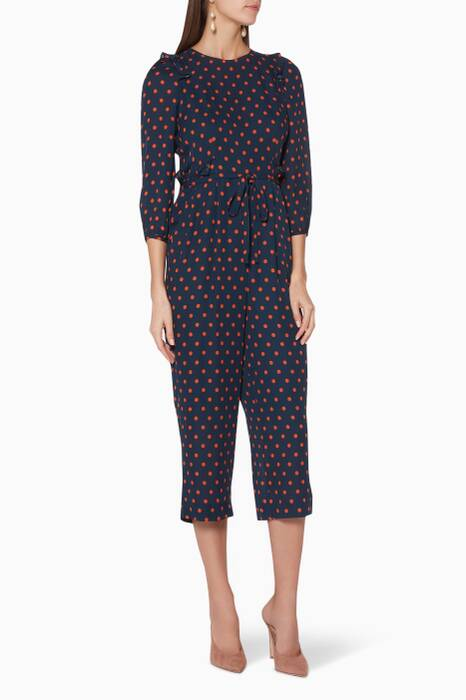 Navy Polka-Dotted Precilla Jumpsuit