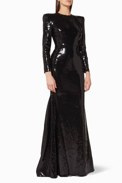 Black Sequined Lane Gown