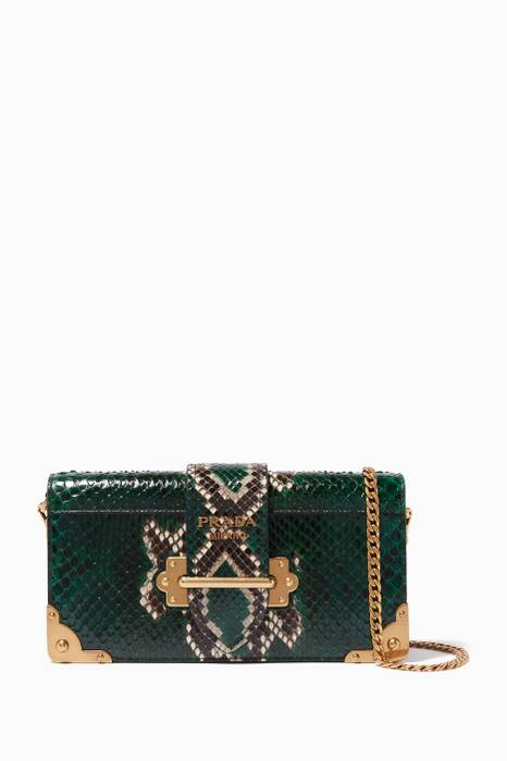Billiard-Green Cahier Python Leather Chain Shoulder Bag