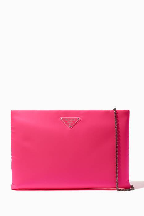 Bright-Pink Large Logo Flat Clutch