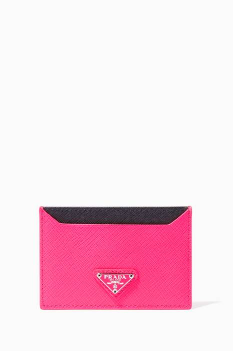 Pink Saffiano Leather Cardholder