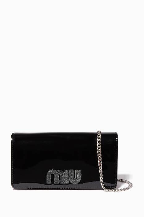 Black Patent Leather Logo Chain Wallet