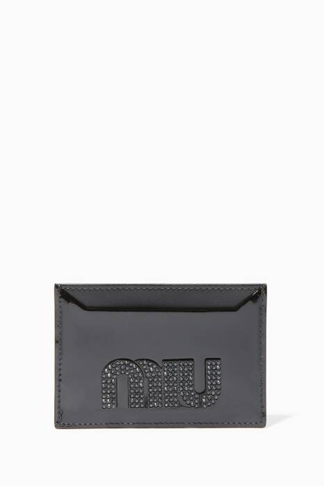 Black Crystal-Embellished Patent Card Case