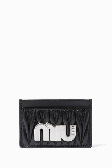 Black Matelassé Logo Card Case
