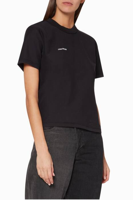 Black Fitted Inside-Out Short-Sleeve T-Shirt