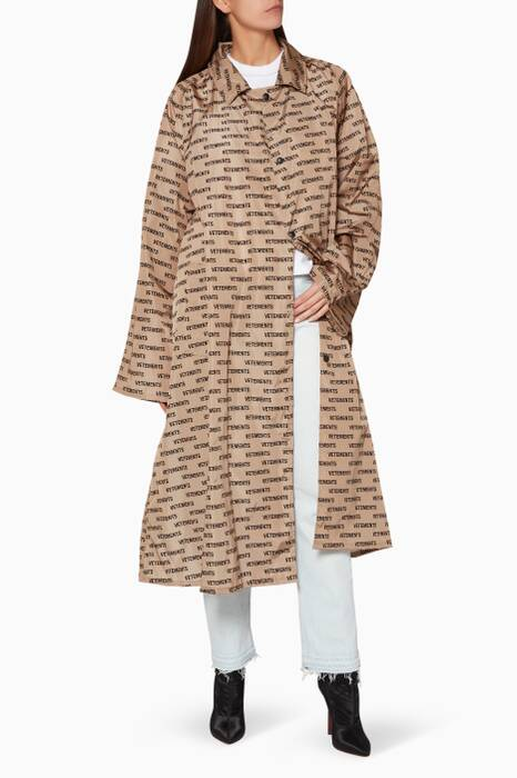 Tan & Black Monogram-Print Raincoat