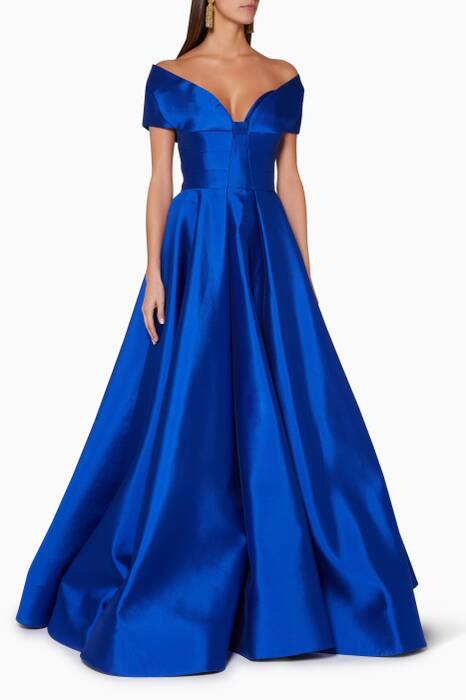 Blue Off-The-Shoulder Tulip Gown