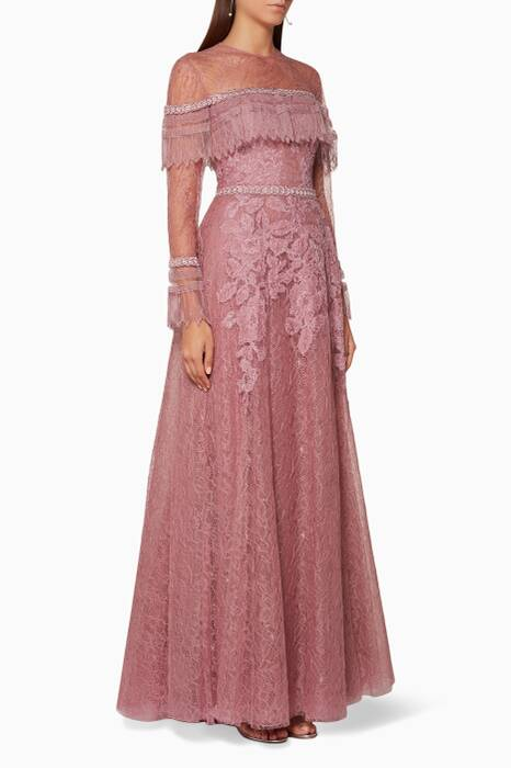 Dust-Pink Edwardian Flared Dress
