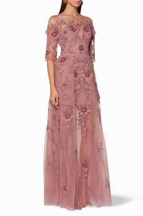 Dust-Pink Embellished Timeglass Flair Dress