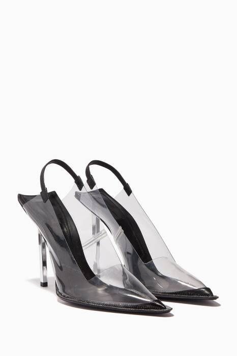 Black Marlow PVC Slingback Pumps
