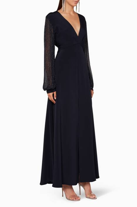 Navy Sheer-Sleeve Yasmine Gown