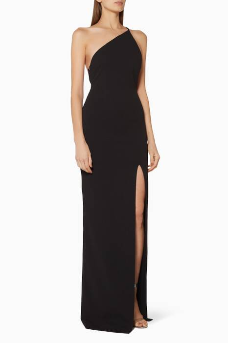 Black One-Shoulder Petch Gown