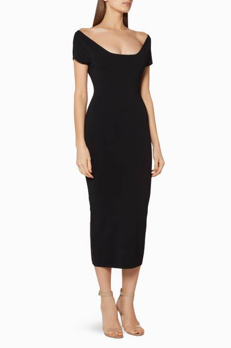 Black Cierra Midi Dress