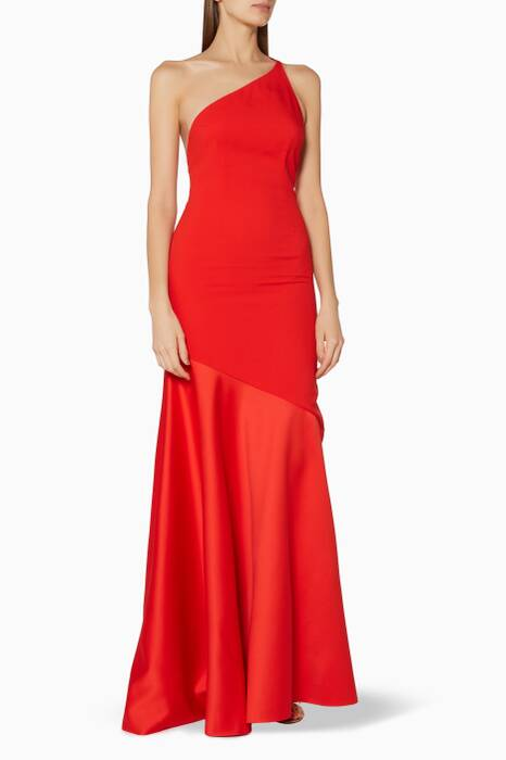 Red One-Shoulder Violeta Gown