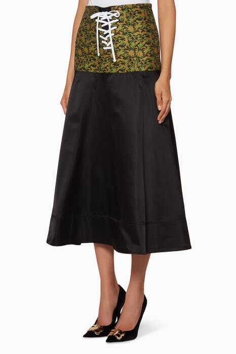 Black Embroidered Jodhpur Midi Skirt
