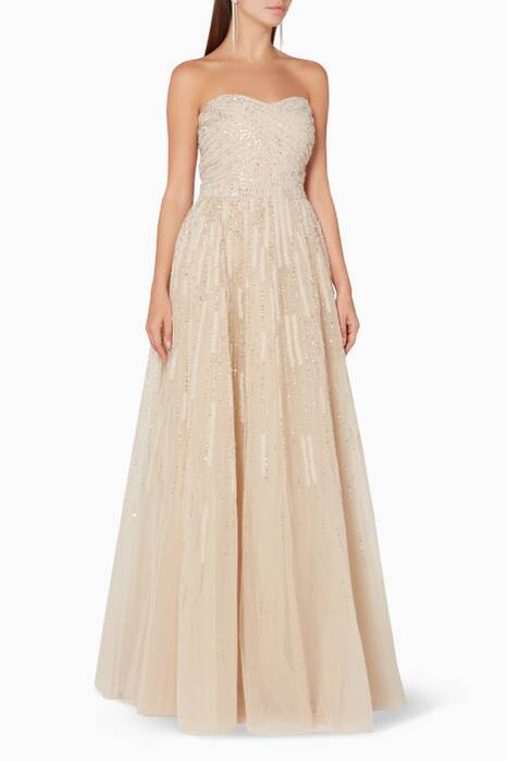 Beige Strapless Embellished Tulle Gown