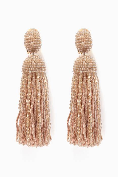 Gold Short Bead & Silk Tassel Earrings